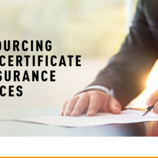 Corporate Man Writing on Paper - Banner Image for Outsourcing Your Certificate of Insurance Services Blog