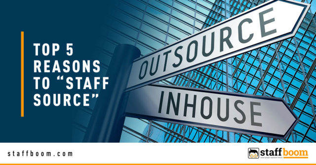 """Outsource and Inhouse Road Signs - Banner Image for Top 5 Reasons to """"Staff Source"""" Blog"""