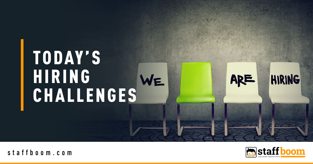 Chairs with We Are Hiring Text - Banner Image for Today's Hiring Challenges Blog