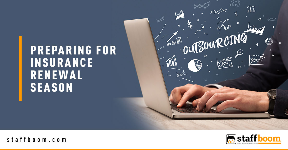 Man Using Laptop with Outsourcing Text - Banner Image for Preparing for Insurance Renewal Season Blog